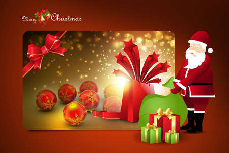 santaclaus: New year gift box with santaclaus Stock Photo