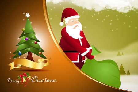 Santa claus with christmas tree photo