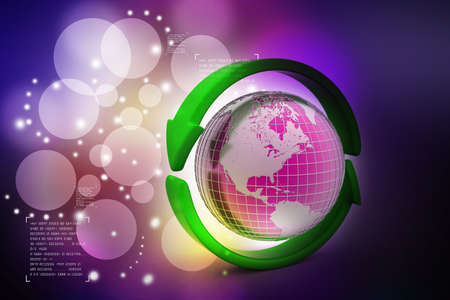 international recycle symbol: Earth with arrow circle around Stock Photo