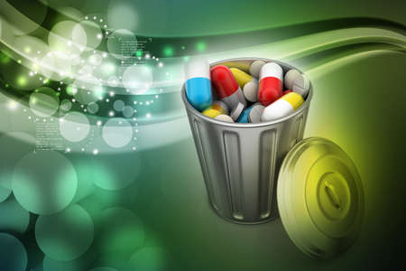 medical waste: Capsules in a trash bin