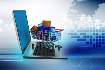 commerce communication: Internet and Online Shopping Concept Stock Photo