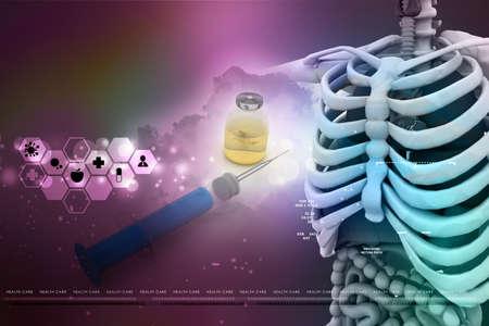 midsagittal: human anatomy  with medicine bottle
