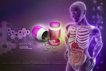 midsagittal: human anatomy  with medicine bottle