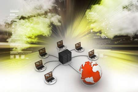e recruitment: laptop with big server Net Work firewall. 3D Image
