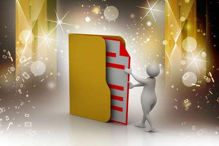inserting: 3d man inserting the file in folder