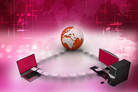 e recruitment: Globe around with laptop server  and computer Stock Photo
