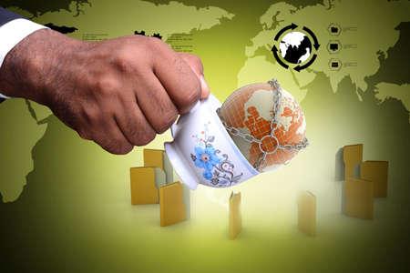 web host: File folder around the tea cup and earth globe
