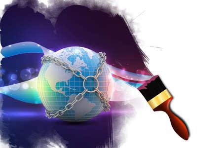 Earth globe close in chain photo