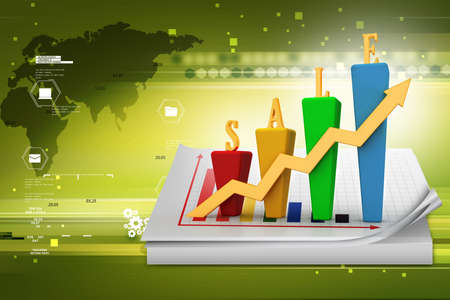 sales growth: 3D Bar chart and sales growth