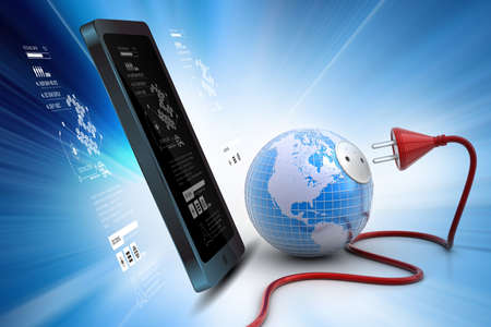 international crisis: earth globe with power cable Stock Photo