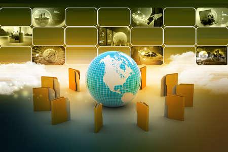 File folders around Earth photo