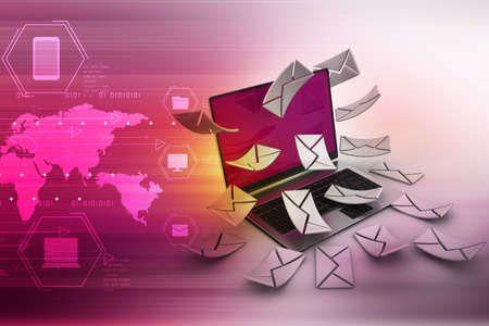 consignor: E-mail concept. Modern Laptop and envelope