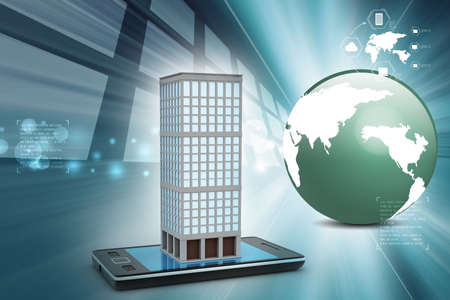commercial real estate: smart phone with real estate concept