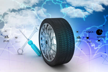 replacement: 3d tires replacement concept Stock Photo