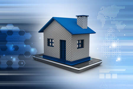 smart home: home with smart phone Stock Photo