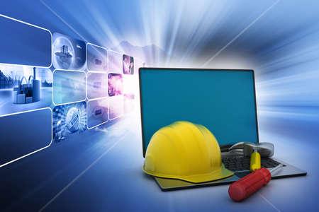 ノート パソコンと建設の看板の下で 写真素材