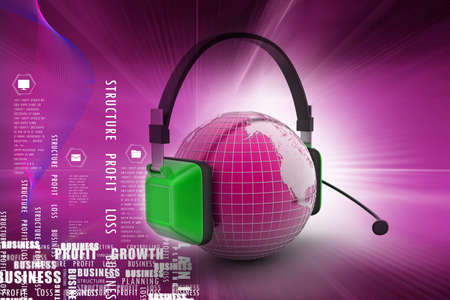 ear phones: Headset with world globe. Concept for online chat