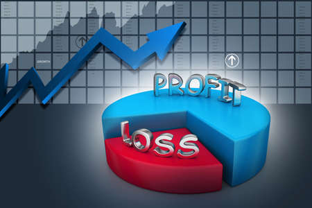 profit and losses pie chart Stock Photo
