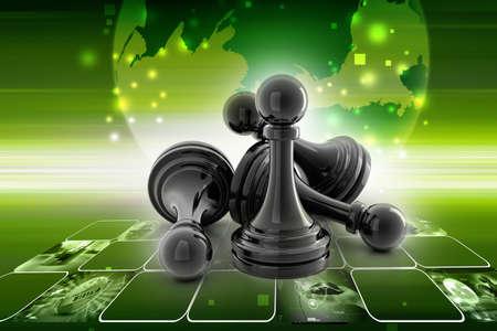 black pawn isolated on white colour photo