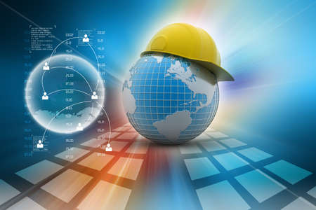 Globe with safety helmet Stock Photo