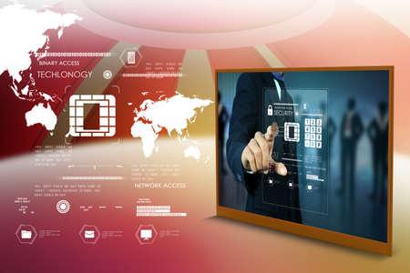 Businessman Drücken virtueller Buttons Standard-Bild - 37718765