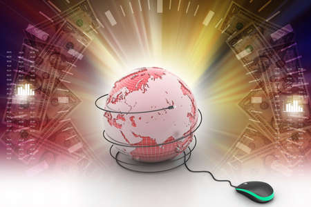 surfing the net: internet 3d concept - computer mouse with globe