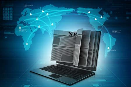News through a laptop screen concept for online news Stock Photo