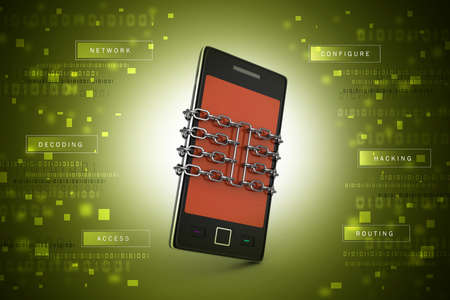 spy ware: Smart phone with chain, safety concept Stock Photo
