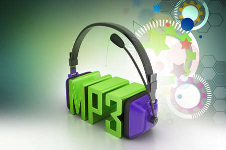 mp3: Head phone with mp3 Stock Photo