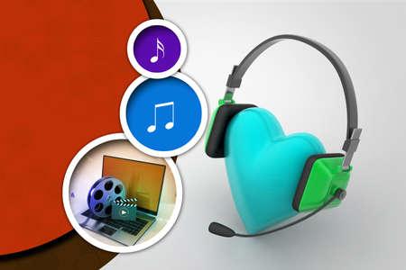 head phone: head phone with love hearts