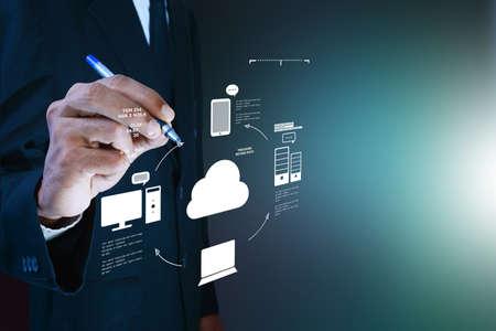 tecnología informatica: Hombre de negocios que muestra el concepto de cloud computing.