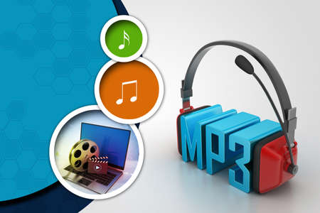 acoustical: Head phone with mp3 Stock Photo