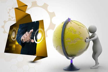 analysing: 3d man analysing the globe