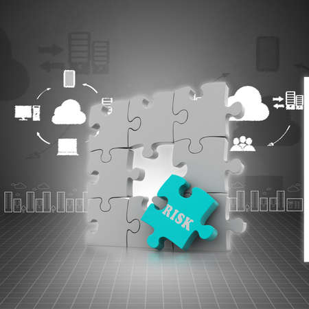 red puzzle piece: Finance concept: Risk on red puzzle piece Stock Photo