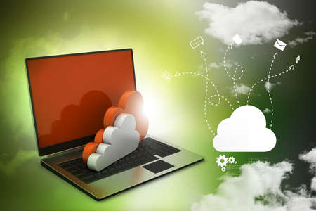 computer security: laptop showing concept of cloud computing.