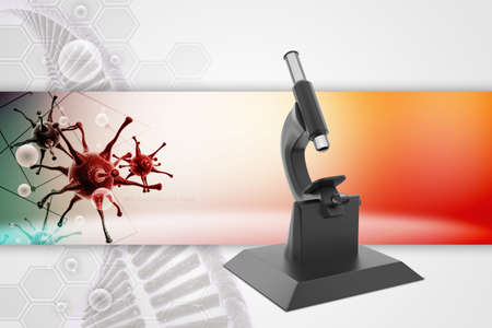 forensic science: microscope on abstract background