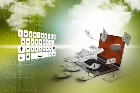 telegrama: Concepto de correo electrónico. Laptop moderna y el sobre