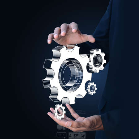 gears cogs: businessman showing gears cogs to success concept
