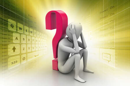 3d man sitting near the question mark Stock Photo