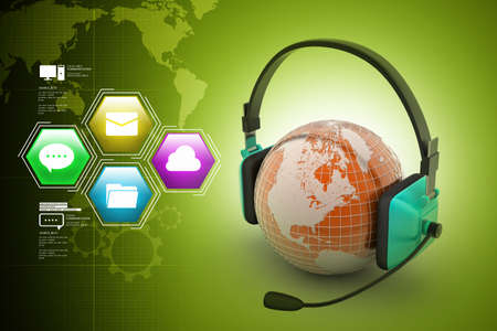 head phones: Headset with world globe. Concept for online chat