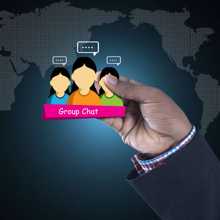 Man showing social network concept Stock Photo