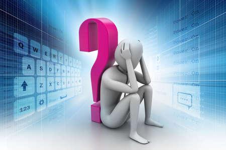 point d interrogation: 3d homme assis pr�s de l'interrogation