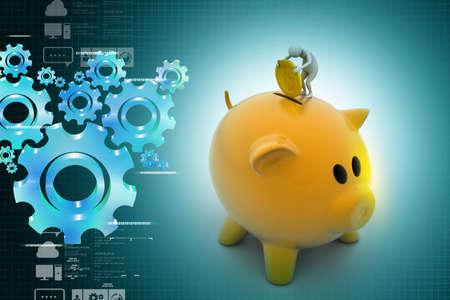 Business man put coin into piggy bank photo