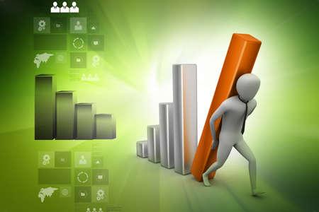 man pushing: Business man pushing graph chart