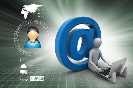 3d person: 3d person e mail symbol Stock Photo