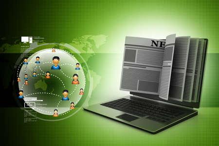News through a laptop screen concept for online news photo