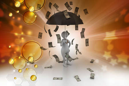 money rain: 3d man and umbrella in money rain Stock Photo
