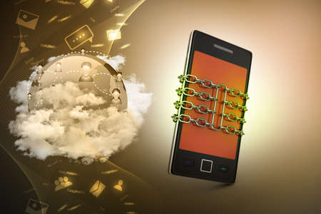 Smart phone with chain, safety concept photo