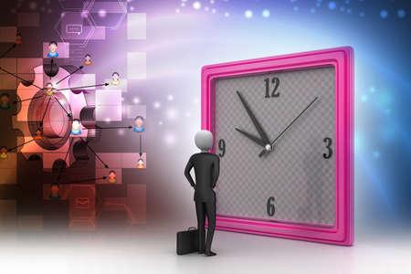 watching 3d: 3d man watching the clock
