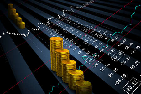 common market: Gold coins with financial stock market data